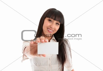 Pretty smiling woman with business or id card