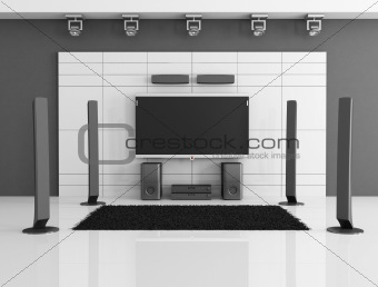 black and white home theater