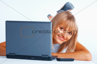 Curious woman with laptop