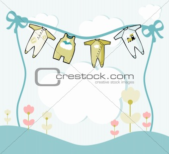 Card  illustration with baby clothes and flowers