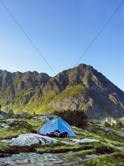 Tent in a lofoten camping site