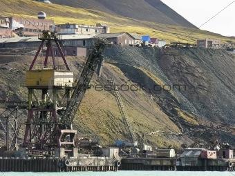Old industrial port in svalbard