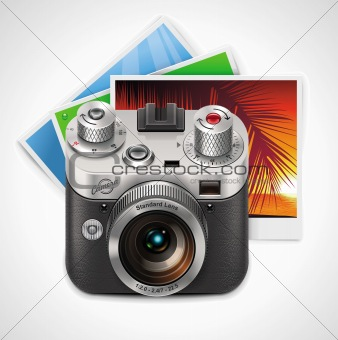 Vector retro camera and photos XXL icon