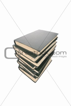 old books stack isolated on white