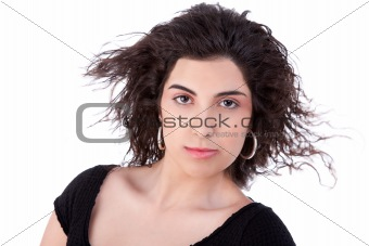 beautiful woman with hair on wind, on white, studio shot