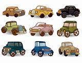 cartoon retro car icon set