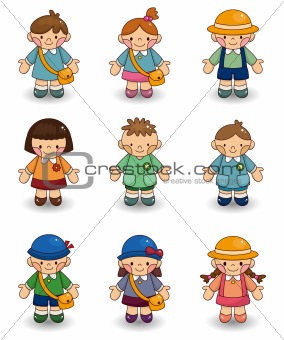 cartoon kid icon set