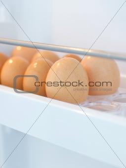 fresh chicken eggs in fridge
