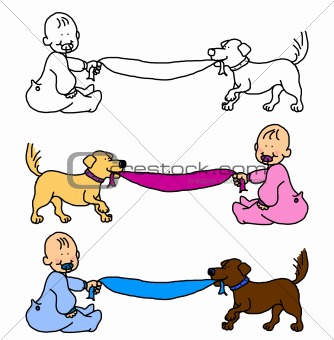 Baby with dog pulling blanket or banner