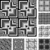 Seamless patterns set in op art design.