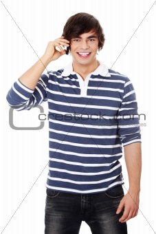 A handsome happy man using mobile phone.