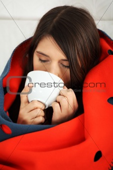 Young woman caught cold.