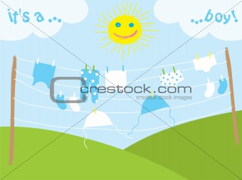 baby's clothes drying under the sun, vector illustration
