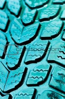 Vibrant blue rubber tire texture
