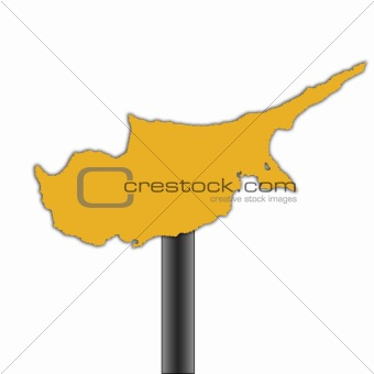 Cyprus map road sign