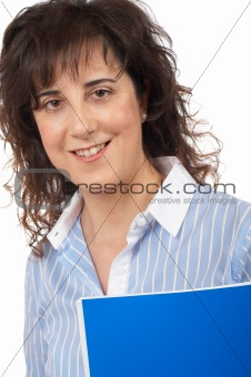 Casual woman with notebook