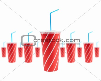 Many soda drinks with blue straw