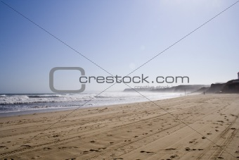 Foggy beach landscape