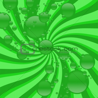 Green Abstract Bubble Swirl Background