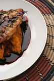 Grilled chicken breast, pumpkin mash and red wine sauce