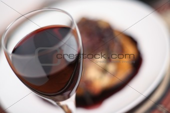 Red wine dinner; soft focus wide view