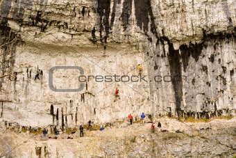 Climbers at Malham Cove in the Yorkshire Dales