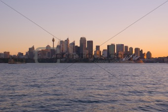 Sydney City and Harbour at Sunset