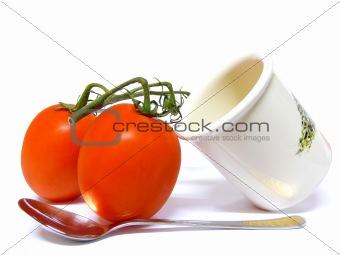 Tomatoes, Pot and Spoon