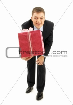 happy businessman with pink gift package