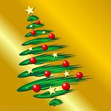 Christmas tree over gold