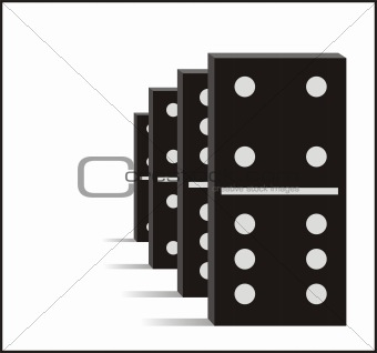 Four black dominos graphic illustration