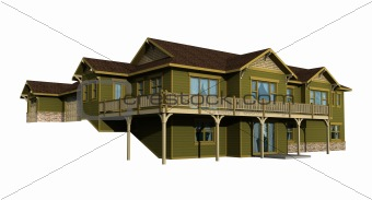 3d model of green siding house