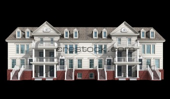 3d model of white siding condominium