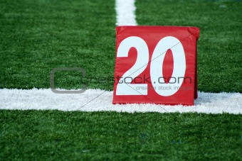 Football twenty yard marker