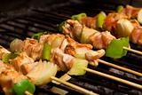 Chicken meat and vegetables barbeque