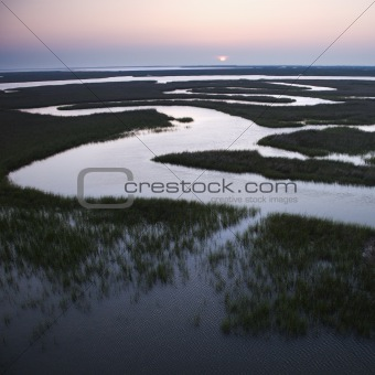 Winding water in marsh.