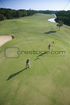 Aerial of golfers.