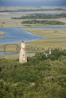 Aerial of lighthouse.