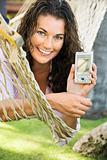 Woman in hammock.