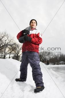 Boy with snowboard.