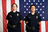 Policewomen and flag.