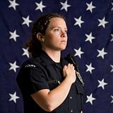 Patriotic policewoman.