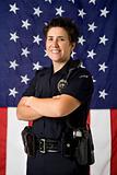 Policewoman and flag.