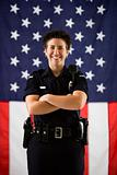 Policewoman and flag.