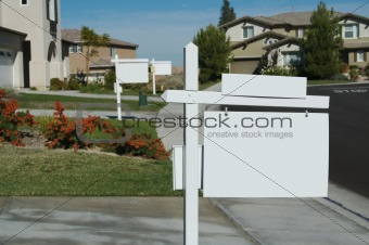 Blank Real Estate Signs in a Row