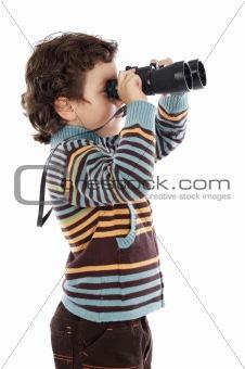 boy watching after binoculars