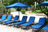 Poolside deckchairs