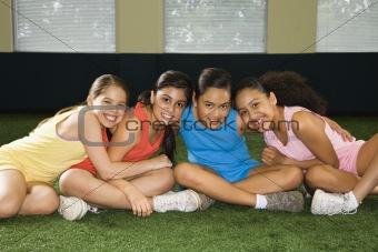Group smiling girls.