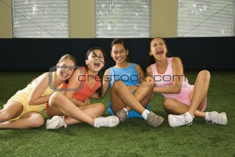Group laughing girls.