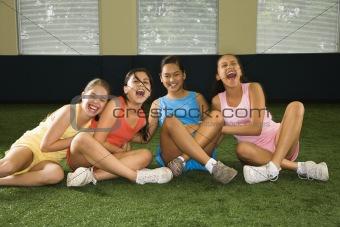 Group laughing girls.